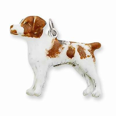New Solid 925 Sterling Silver Enameled 3D Breed Brittany Spaniel Dog Charm .95""