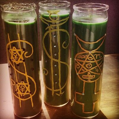 """""""7 Day MONEY Glass Candle"""" ~Wicca~Pagan~Hoodoo~ + FREE ANGEL CARD READING!"""