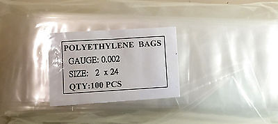 "100 Pieces CLEAR Low Density 2"" x 24"" POLY BAGS 2 MIL POLYETHYLENE"
