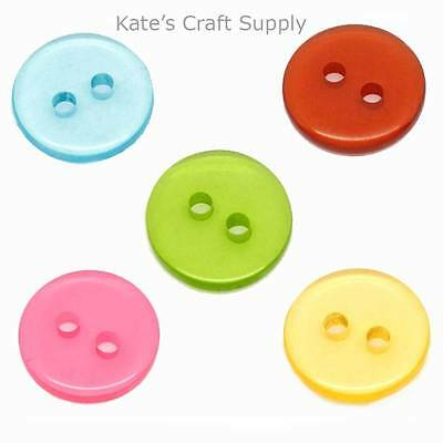 100 Mixed Round 2 Holes Resin Sewing Buttons Scrapbooking 11mm