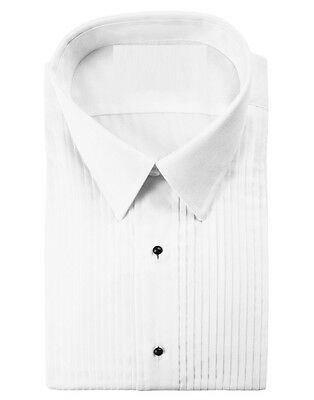 New White Tuxedo Shirt Laydown Spread Collar Pleated Wedding All Sizes