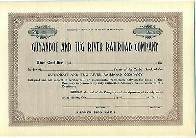 Guyandot and Tug River Railroad Company Stock Certificate West Virginia