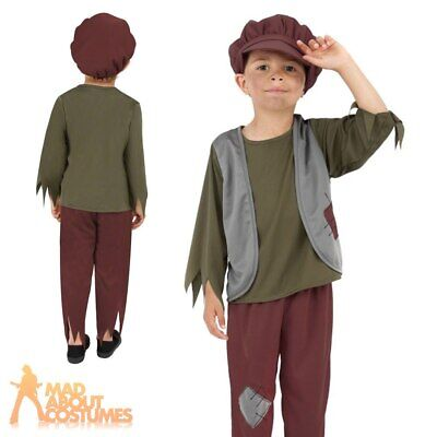 Victorian Poor Boy Costume Child Book Day Week Fancy Dress Peasant Outfit New