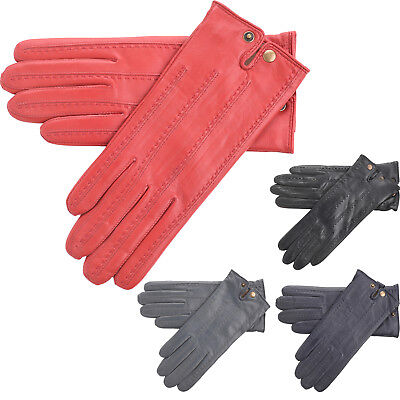 Ladies Leather Driving Gloves with Popper Wrist Split and Warm Fleece Lining
