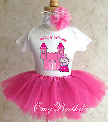 Princess Pink Castle Baby Girl 1st First Birthday Tutu Outfit Shirt Set Party