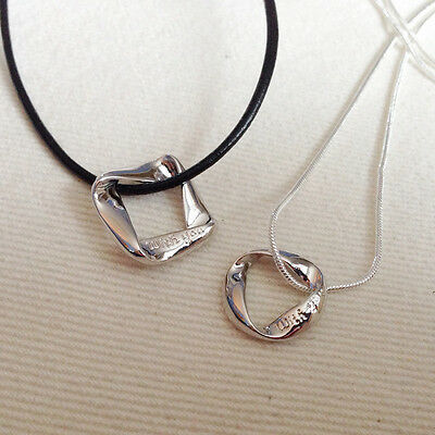 925 Silver or Cord Necklace & Engraved 'With You' Pendant  Ladies Mens Gift