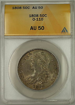 1808 Capped Bust Silver Half Dollar 50c O-110a ANACS AU-50 (Better Coin)