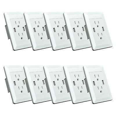 10PK Electric Wall Charger Dual USB Port Power Outlet Panel Faceplate For Iphone