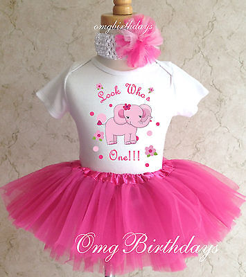 Elephant Pink Adorable Infant Baby Girl 1st First Birthday Tutu Outfit Shirt Set