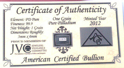 x5 ACB SOLID Palladium PD BULLION 1Grain BAR 999 W/ CERTIFICATE OF AUTHENTICITY