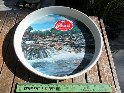"Vintage PEARL LAGER BEER TRAY Brewing Land of 1100 Springs 13"" Diameter"