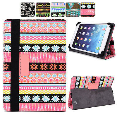 "H Tribal Canvas Adjustable Folding Folio Cover & Touch Guard fits 10.1"" Tablet-s"