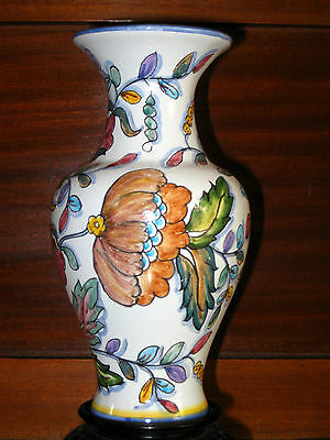 EXQUISITE COIMBRA PORTUGAL POTTERY HAND MADE / PAINTED VASE SIGNED AND NUMBERED
