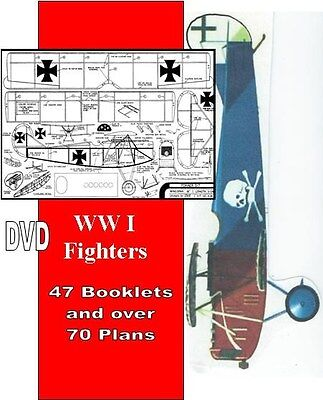 Model Airplane Plans, 70 WW I FIGHTER PLANS ON A CD
