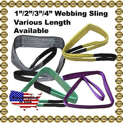 "1""/2""/3"" 2-Ply Flat Nylon Heavy Duty Web Sling Lifting Tow Strap"