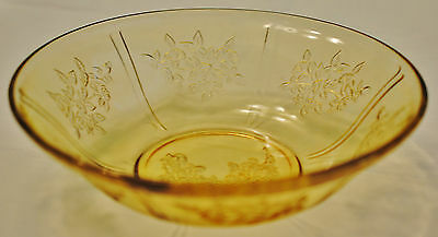 Vintage Yellow Depression Glass Serving Bowl Sharon Cabbage Rose Design