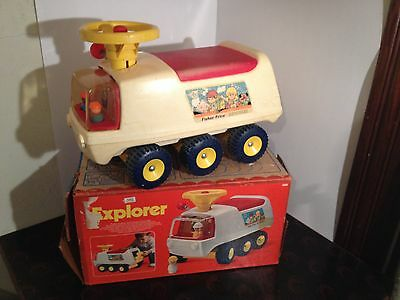 1971 Vintage Fisher Price 980 ATV Explorer Ride On Toy w ORIG BOX ~ WORKS!