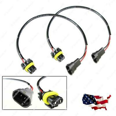 2x H11 Sockets to 9006 Bulbs Adapter Power Cords Cable For Headlight