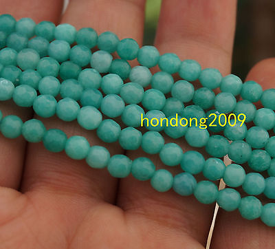 Rare 4mm Natural Amazonite Faceted Round Beads 15''AAA