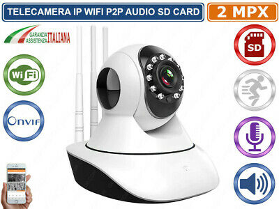 Telecamera Motorizzata Ip Cam  1 Mpx 720P Wireless Wifi Registra Micro Sd Onvif