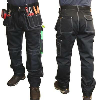 Heavy Duty Black Work Trousers Triple Stitched work pants Multiple pockets