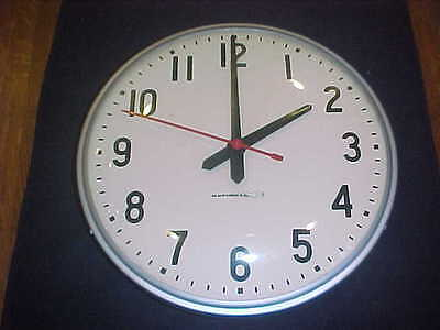 """Vintage National Time 12"""" School Wall Clock Glass Face Synchron"""
