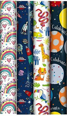 12m Children's Mixed Gift Wrapping Paper - 4 x 3m Roll's - Boys & Girls Designs