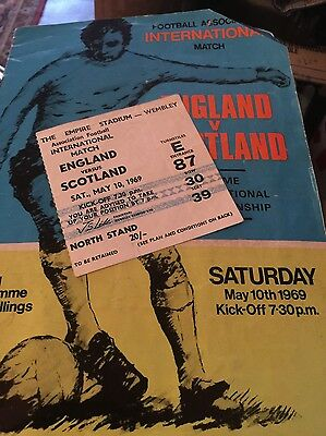 England V Scotland International Football Programme With Ticket May 10Th 1969