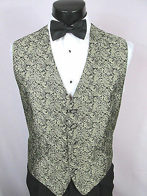 Mens Vintage Formal Vest Black With Gold Paisley Accents Size Medium Bow Tie