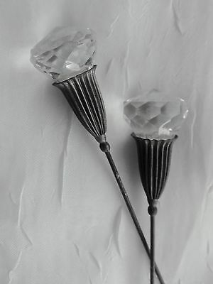 """2 antique FACETED """"CRYSTAL"""" GLASS HAT PINS Hatpins VINTAGE Victorian"""