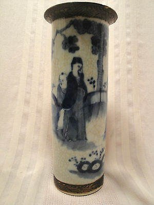 Beautiful Chinese Korean Signed Pottery Tall Blue & White Cylinder Vase 19th C