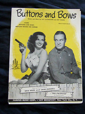 1948 Buttons & Bows from movie Paleface Bob Hope Jane Russell sheet music