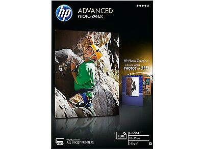 HP Q8692A Advanced Glossy Photo Paper Borderless 250gsm 10x15cm 100 Sheets White