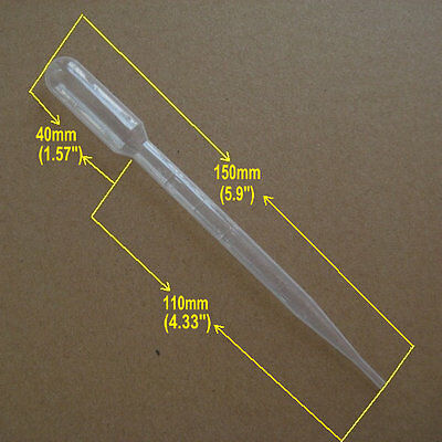 50 x 3ml Disposable pasteur pipettes (graduated) transfer pipettes eye dropper