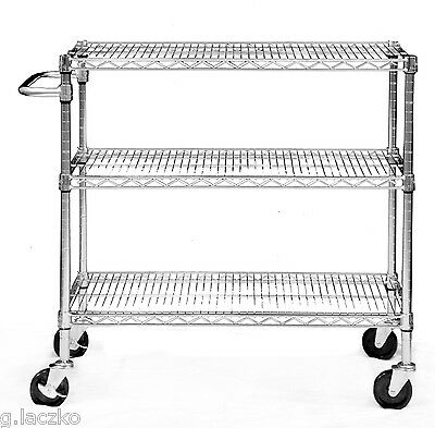 Chrome Utility Cart Nsf 3 Heavy Duty Push Adjustable Shelves X 24 Rolling Medica