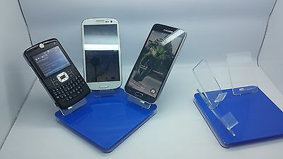 LOT 100 NEW STAND HOLDER CELL PHONE DISPLAY 3 in 1 HOT BLUE