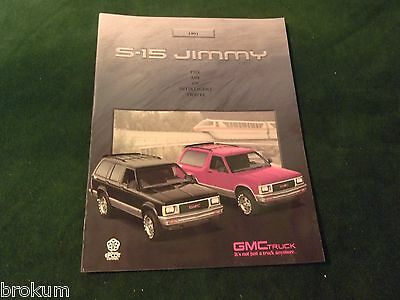 Mint Original New 1991 Gmc S15 Jimmy Dealer Sales Brochure W/ Color Chart (324)