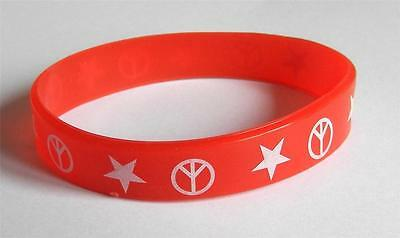 Silicon Wristband Bracelet Colour Red With Peace Motif