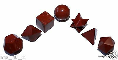 Red Jasper Sacred Geometry 7 Piece Set with Merkaba Star - Free & Fast Shipping