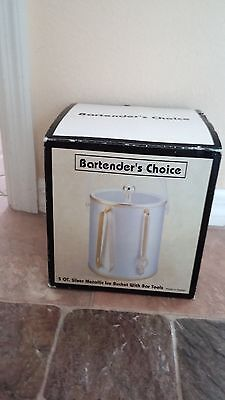 5 Qt. Silver Metallic With Gold Trim Ice Bucket With Gold Bar Tools