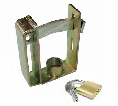 Trailer Coupling Hitch Lock Heavy Duty Steel + PadLock and Keys 2 Stage Locking
