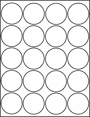 500 Printable Inkjet Glossy White Round Stickers 2 Inch Labels 25 Sheets 4220JG