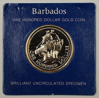 1975 Franklin Mint Barbados 350th Anniversary $100 Dollar UNC Gold Coin