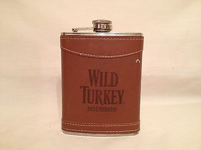 Wild Turkey Bourbon Hip Flask 8oz. Stainless Steel with Leather Cover