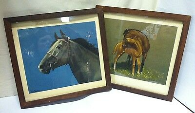 Lot of 2 - CW ANDERSON - Color Print - Black Horse, Mother & Baby Horse pictures