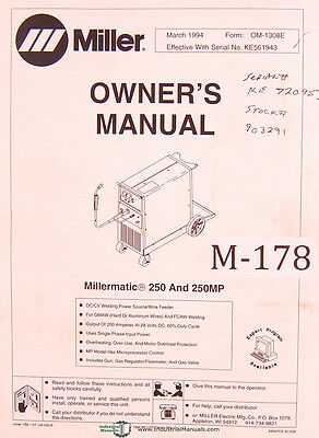 Miller Millermatic 250 & 250MP, Welding Power Source Operations and parts Manual