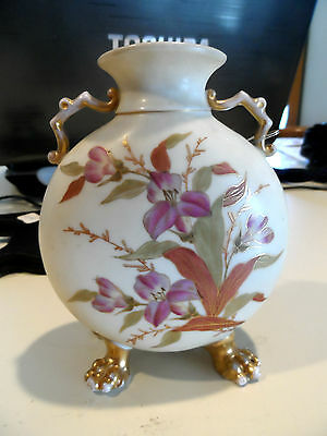 """5  3/4"""" Vintage Hand Painted Flowered Vase w/Gold - R & W"""