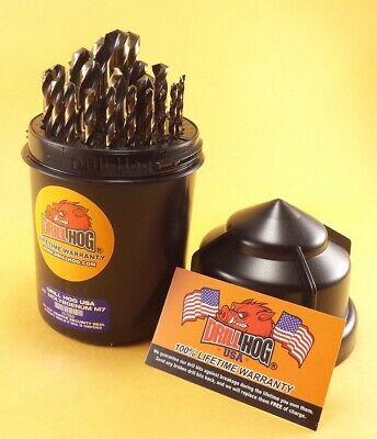 Drill Hog® 29 Pc Drill Bit Set Index Molybdenum M7 Round Case Lifetime Warranty