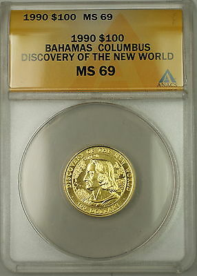 1990 Bahamas Columbus Discovery New World $100 Gold ANACS MS-69 *Very Scarce*