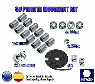 3d printer reprap prusa i3 movement kit GT2 belt pulley 608zz lm8uu 624zz